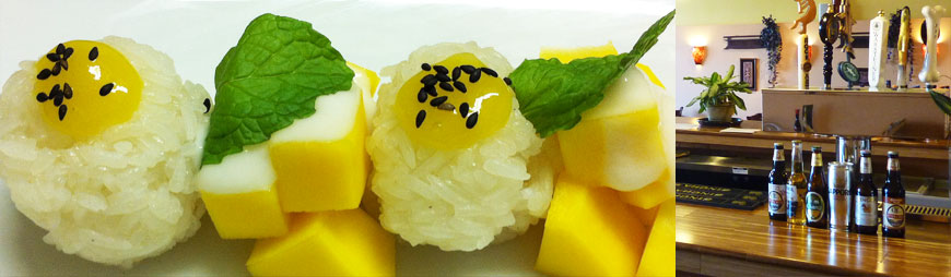 sticky rice with mango, beer