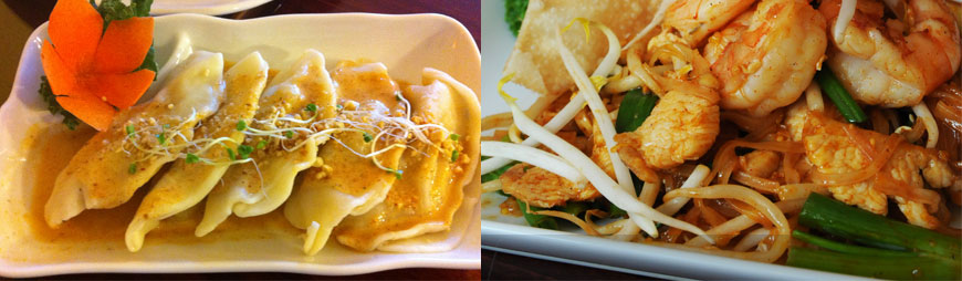 red curry potstickers and pad thai